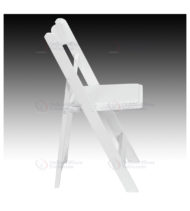HERCULES Series White Wood Folding Chair with Vinyl Padded Seat -17565