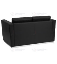 HERCULES Trinity Series Contemporary Black Leather Love Seat with Stainless Steel Base -18579