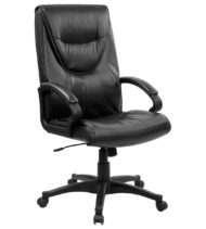 Performance Series Executive High-Back Leather Chair, Black-0