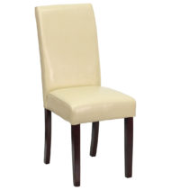 Ivory Leather Upholstered Parsons Chair -0