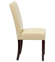 Ivory Leather Upholstered Parsons Chair -14884