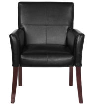 Black Leather Executive Side Chair or Reception Chair with Mahogany Legs-14888