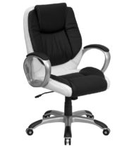Formfit Mid-Back Black and White Leather Manager Chair-0