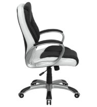 Formfit Mid-Back Black and White Leather Manager Chair-15573