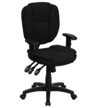 Value Star Mid-Back Multi-Functional Ergonomic Black Fabric Task Chair with Arms-0