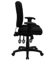 Value Star Mid-Back Multi-Functional Ergonomic Black Fabric Task Chair with Arms-16173