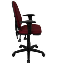 Mid-Back Burgundy Fabric Multi-Functional Task Chair with Arms and Adjustable Lumbar Support -17467