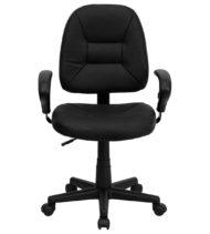 Value Star Manager Leather Task Chair, Black-0