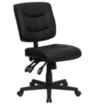 Value Star Armless Adjustable Black Leather Manager Chair-0