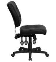 Value Star Armless Adjustable Black Leather Manager Chair-16073