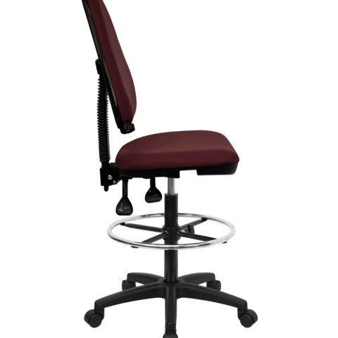 Mid Back Burgundy Fabric Multi-Functional Drafting Stool with Adjustable Lumbar Support -0