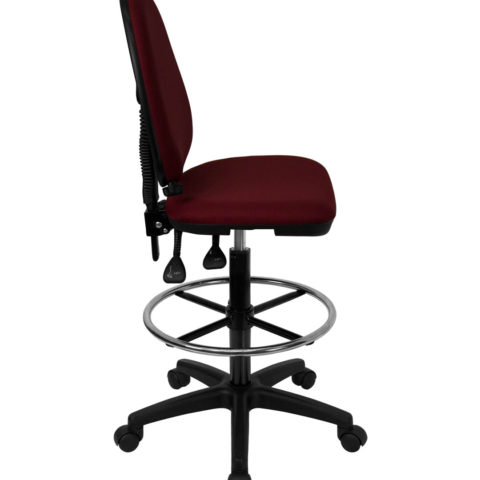 Mid Back Burgundy Fabric Multi-Functional Drafting Stool with Adjustable Lumbar Support -17471