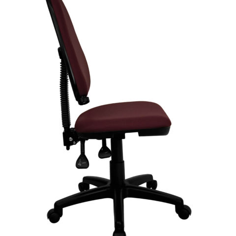 Mid-Back Burgundy Fabric Multi-Functional Task Chair with Adjustable Lumbar Support -0