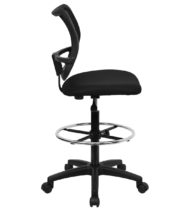 Value Star Mid-Back Mesh Drafting Stool with Black Fabric Seat -17407