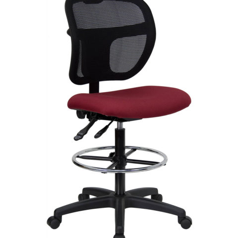 Mid-Back Mesh Drafting Stool with Burgundy Fabric Seat -0
