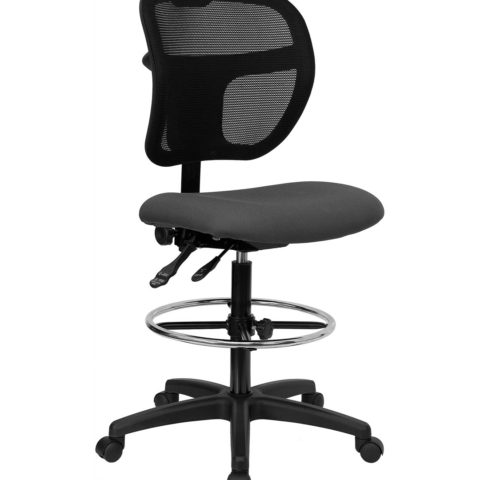 Mid-Back Mesh Drafting Stool with Gray Fabric Seat -0