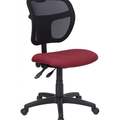 Mid-Back Mesh Task Chair with Burgundy Fabric Seat -0