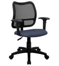 Mid-Back Mesh Task Chair with Navy Blue Fabric Seat and Arms -0
