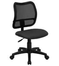 Mid-Back Mesh Task Chair with Gray Fabric Seat -0