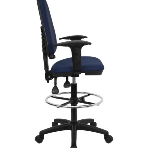Mid-Back Navy Blue Fabric Multi-Functional Drafting Stool with Arms and Adjustable Lumbar Support -0