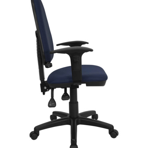 Mid Back Navy Blue Fabric Multi-Functional Task Chair with Arms and Adjustable Lumbar Support -0