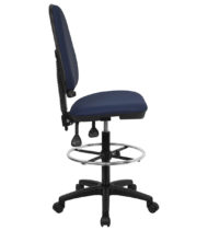 Mid-Back Navy Blue Fabric Multi-Functional Drafting Stool with Adjustable Lumbar Support -0
