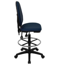 Mid-Back Navy Blue Fabric Multi-Functional Drafting Stool with Adjustable Lumbar Support -17487