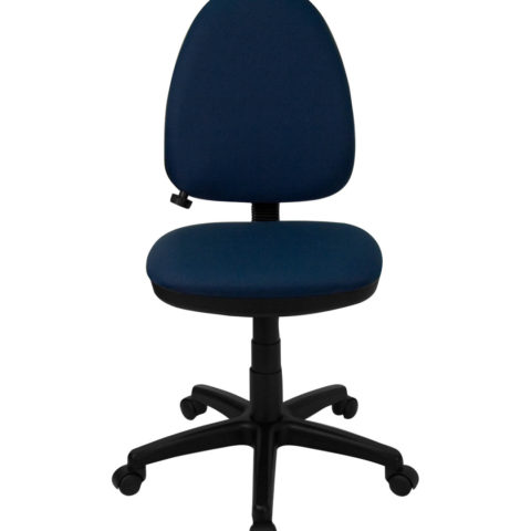 Mid-Back Navy Blue Fabric Multi-Functional Task Chair with Adjustable Lumbar Support -0