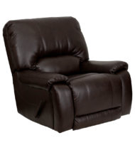 OverStuffed Brown Leather Lever Rocker Recliner -0
