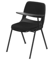 Padded Black Ergonomic Shell Chair with Left Handed Flip-Up Tablet Arm -0