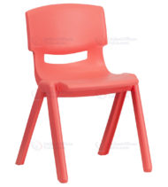 Red Plastic Stackable School Chair with 13.25'' Seat Height -0