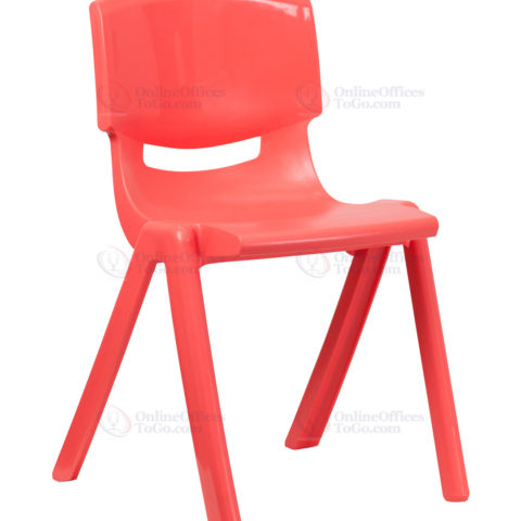 Red Plastic Stackable School Chair with 18'' Seat Height -0