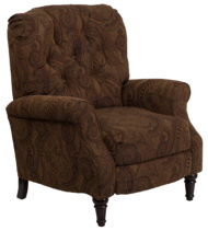 Traditional Tobacco Fabric Tufted Hi-Leg Recliner -0