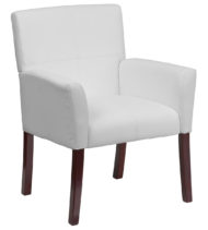 White Leather Executive Side Chair or Reception Chair with Mahogany Legs -0