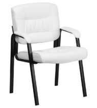 White Leather Guest / Reception Chair with Black Frame Finish -0
