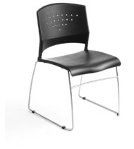 Boss Black Stack Chair With Chrome Frame, 4 Pcs Pack-0