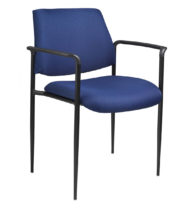 Boss Square Back Diamond Stacking Chair W/Arm In Blue-0
