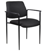 Boss Square Back Diamond Stacking Chair W/Arm In Black-0