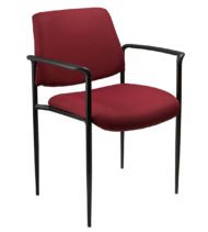 Boss Square Back Diamond Stacking Chair W/Arm In Burgundy-0