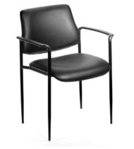 Boss Square Back Diamond Stacking Chair W/Arm In Black Leather-0