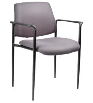 Boss Square Back Diamond Stacking Chair W/Arm In Grey-0