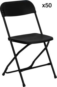 50 Pack - HERCULES Series Black Folding Chair -0