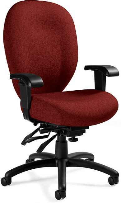 Global Total Office 2780-3 Mallorca High Back Multi-Tilter - Dark Red Print