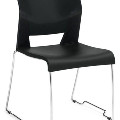 Global Total Office Duet Armless Stackable Chair - Black