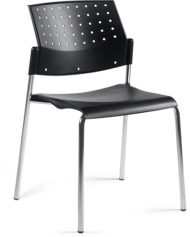 Global Total Office 6508 Sonic Armless Stacking Chair - Black