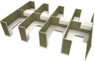 """Office in an Instant 8-pack 6x8 67""""H Cubicle Set - Leaf"""