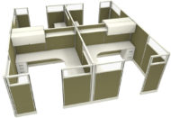 """Office in an Instant 4-Pack 8X8 Glass 67""""H Cubicle Set in Leaf"""