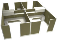 """Office in an Instant 4-Pack 8X8 Fabric 67""""H Cubicle Setup in Leaf"""