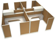 """Office in an Instant 4-Pack 8X8 Fabric 67""""H Cubicle Setup in Caramel"""
