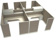"""Office in an Instant 4-Pack 8X8 Fabric 67""""H Cubicle Setup in Terrain Cloud"""